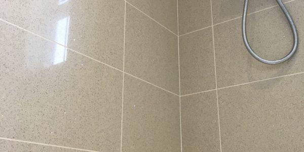 Tiled shower area.